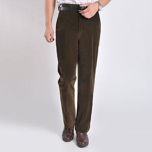 Men's Pants Corduroy Trousers Men Coffee Color Long Spring Smart Casual Straight Business Autumn Mirco Velvet Male Trouser