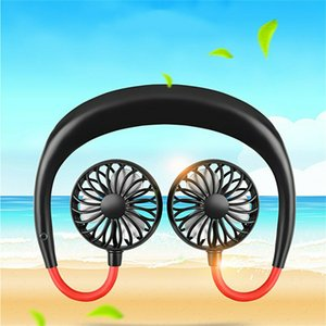 New 2000 mAh USB Portable Fan Hands-free Neck Hanging USB Charging Mini Portable Sports Fan 3 gears Usb Air Conditioner car cooling Fan DHL
