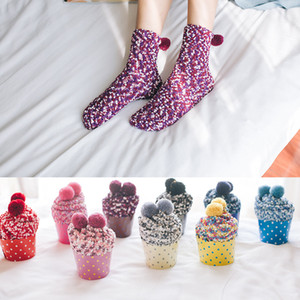 Fashion Warm Socks Women Cup Cake Coral Cashmere Cotton Socks Creative Winter Soft Warm Socks Christmas Gifts 9 colors D0001