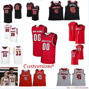 Personalizada Baloncesto Jersey Louisville Cardinals # 45 Donovan Mitchell 32 DeJuan Wheat Lance Thomas Damion Lee Brian Bowen Louisville Jersey