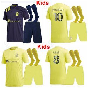 Bambini Nashville SC Gioventù Danladi Jersey Socks Set di calcio 25 ZIMMERMAN LEAL Romney Badji RIOS Lovitz 2020 2021 bambini di calcio Shirt Kit