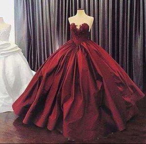 2019 nouvelle robe de bal robe de bal sweetheart illusion en dentelle appliques bourgogne longueur du plancher douce robe de soirée 16 plus la taille des robes de soirée