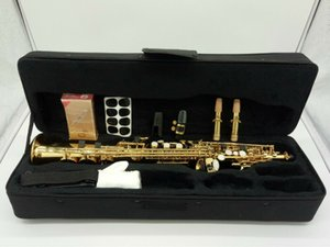 B Flat Soprano Saxophone Gold Lacquer with Curved and Straight Neck Accessories