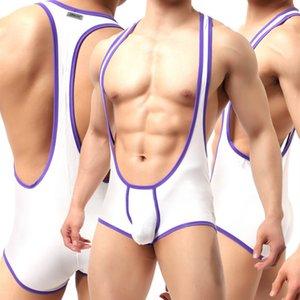 Men's Sexy Body Suit Shapers Underwear Modal Teddies Male Jockstrap Wrestling Singlet Bodysuits Sexy Lingerie