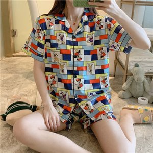 Women' s Summer Pajama Sets Concise Cartton Style Silk Nightclothes Fashion Relaxed Nightdress Two- piece Sets