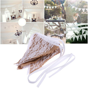 3,2 M 12 Bandiere Rustic Wedding Decoration Vintage tela Banner Haning Bunting Banner Pizzo Photo Booth Prop Fornitura di partito Ghirlanda