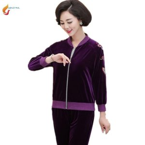 Autumn new large size 5XL women's suit middle-aged gold velvet spring fashion two-piece middle-aged casual sportswear suit G833