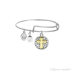 Fashion Cross Expandable Wire Bangle Bracelet for Women Fashion Adjustable Charm Bracelet 2019 New Designer Jewelry