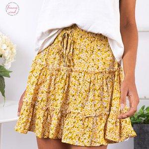 Señoras atractivas del mini falda mujeres de la alta cintura lujos Streetwear Slim una línea de verano de la falda de la impresión floral playa de las mujeres de las faldas cortas Mujer