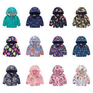 Çocuklar Erkekler Kızlar Karikatür Kapşonlu Ceket Çiçek Baskılı Coat Kamuflaj Uzun Kollu Fermuar ceketler Bahar Bebek Kabanlar Çocuk D21803 Tops