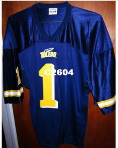 Rare TOLEDO UNIVERSITY футбол джерси ROCKETS логотип Огайо # 1 нейлон реал Полная вышивка Джерси Размер S-4XL или на заказ любое имя или номер джерси