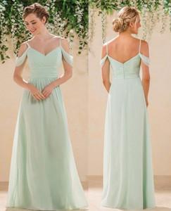 Mint Green Chiffon Bridesmaid Dresses Long Floor Length Spaghetti Straps Chiffon Maid Of Honor Wedding Party Gowns