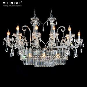 رائع مستطيل كريستال الثريا الإضاءة 13 أضواء الزجاج الثريا الإضاءة بريقا شنقا غرفة الطعام إسقاط مصباح