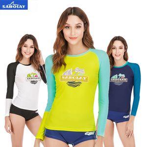SABOLAY femmes Rash Guards Surf Maillot de bain T-shirt de plage Vêtements Hurt Dry Jellyfish soleil Protect maillot de bain et shorts