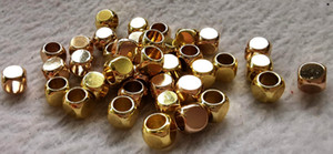 Großes Loch --100pcs Matte Messing Würfelperlen, 2mm 4mm 6mm Goldquadrat-Perlen, Nicht Beschlag Gold-Messing Perlen, 22k Mattgold überzogenes