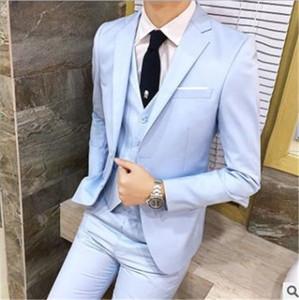 Модные мужские дизайнерские костюмы набор лучших мужчин и жениха свадебный костюм из трех частей бизнес профессиональное платье