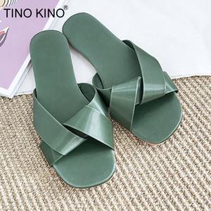 Ayakkabı Bayanlar Ayakkabı Kaymaz Açık Kadın Slaytlar On TINO KINO Kadınlar Düz Terlik Yaz Çapraz Yumuşak Rahat Kadın Kayma