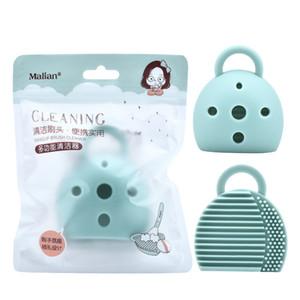 منظف مكياج فرشاة تنظيف السيليكون 2 في 1 أداة فراشي الماكياج النظيفة والجافة أدوات تنظيف اليد