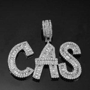 Hop pain Collier diamant bijoux nom personnalisé GLACÉ Chaînes Zircon cuivre série avec lettre plaquée or de diamants Necklac