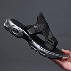 Hommes vacances de coussin d'air résistant à l'usure chausson avec semelle souple antidérapant maille pantoufle chaussures creuses pour le glissement d'été sur pantoufles zy393