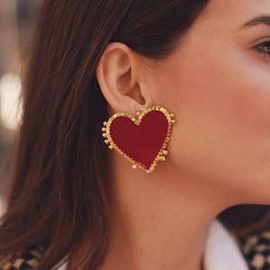 Vintage Bohemia büyük kırmızı kalp küpe kadınlar için moda kız büyük tatlı kalp bildirimi küpe Parti Takı mix tasarımlar