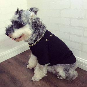 Dog Clothes Schnauzer Hip Hop Big Gold Chain Bullfight Teddy Pet Puppy Cat Rivet T-shirt Tide Card