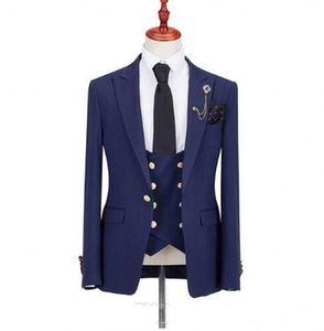 Navy Blue Groom Tuxedos Peak Lapel Groomsmen Wedding Dress Excellent Man Jacket Blazer Dinner 3 Piece Suit(Jacket+Pants+Vest+Tie) 1804