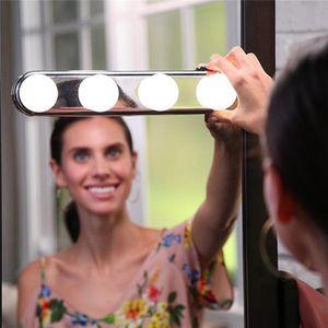 스튜디오 글로우는 조명을 만든다. 슈퍼 밝은 4 개의 LED 전구. 휴대용 화장 용 거울 라이트 키트. 배터리 구동 메이크업 라이트.