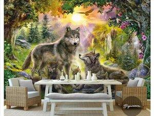 Wholesale - 사용자 정의 3d 실크 사진 벽화 벽지 햇볕에 쬐 인 녹색 숲 회색 야생 늑대 야생 개 동물 풍경 유화 배경 벽
