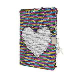 Aleatório padrão Festival Presentes Reversível Glitter Lantejoula Diário Escritório Diário Cadernos Escola Memos Com bloqueio para o Miúdo Menina Adulto