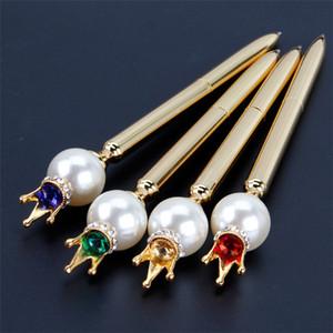 Pluma de balón de metal de cabeza de perla grande creativa con cristal diamante corona estudiante artículos de escritura de papelería