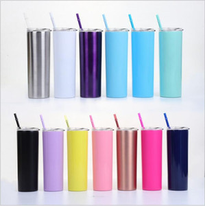 Tumbler Straight Cups Vacuum Insulated Cups Water Bottle Stainless Steel Beer Coffee Mug Thermos Glasses Lids Straws Drinkware 20oz A6077