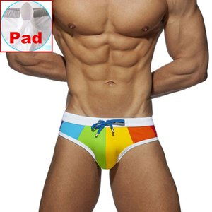 Gay Swimwear Men Push Up arco-íris Swim Briefs Trunks Mens Sexy Underwear Swimsuit Calção Suring Bikini Beach Shorts