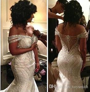 2019 Luxury Beaded Satin Long Mermaid Wedding Sleeveless Dress Bridal Ball Gown Custom 2-26