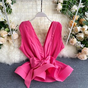 Elegant Bowknot Sashes Women Tops and Blouse Sexy Deep V Chiffon Sleeveless Blouse Shirts Streetwear Ruffles