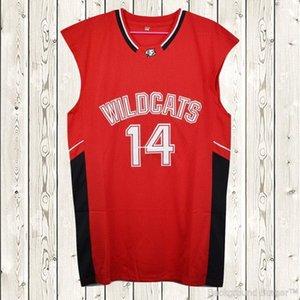 Zac Efron pas cher sur mesure # 14 Troy Bolton-Est chats sauvages de lycée de basket-ball Jersey Cousu Personnalisez l'un nom de nombre HOMMES FEMMES JEUNES XS-5XL