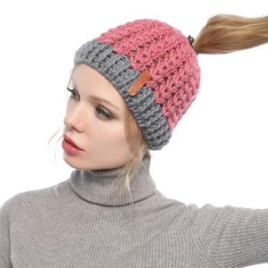 Woman Knit Ponytail Hat Fashion Warm Winter Solid Color Crochet Skull Cap Kids Outdoor Party Beanie Hats A0065