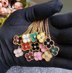 colar de pingente S925 Sterling Silver com flor e de diamante para colar mulheres casamento em preto branco rosa cor azul je presente pedra verde