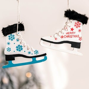 1PC Christmas pendant Wooden Ice Skates Shoes With Bells Christmas Tree Pendants Xmas Winter Holiday Hanging Drop Ornaments
