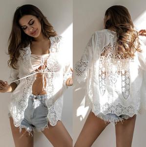 Verão praia smock dress mulheres sexy lace branco floral cover-ups profundo decote em v ver através swimwear blusa