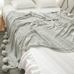 Japan Style Coton Throw Blanket couverture tricotée à rayures Accueil Canapé-lit Couvertures avec 5 couleurs décoratifs Boule