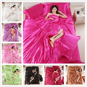 أزياء مورديرن 100٪ مجموعة مفروشات الحرير التوأم كامل الملكة حجم الفراش 2/3 قطع مع غطاء وسادة بلون غطاء السرير مجموعة