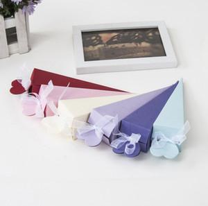2019 Wedding Candy Box cono gelato forma triangolo confezione regalo con scatola regalo di nozze regalo multicolor regalo di nozze