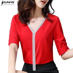 Elegant shirt women professional clothes new summer fashion temperament V Neck chiffon half sleeve blouse plus size loose tops