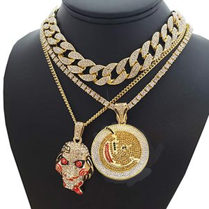 """Hip Hop Horror Mask & Round Pendant & 18"""" Full Iced Cuban Choker Chain Necklace Jewelry Gift Y19051302"""