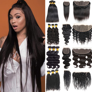 Straight Human Hair Weave Bundles Unprocessed Brazilian Virgin Hair Bundles with Closure Body Deep Wavter Kinky Hair Extensions and Frontal