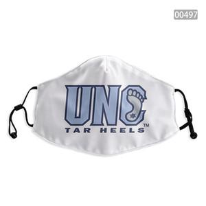 à prova de poeira esportes ao ar livre NCAA North Carolina Tar Heel ajustável reutilizável filtro de 2 carbono partido segura Máscaras respirável impressão projeto