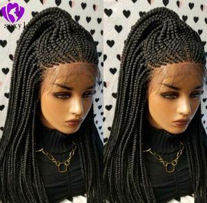 200density pleine dentelle noire frontale cornrow Perruques haute température fibre synthétique cheveux avant de dentelle longue perruque tressées Boîte Tresses perruques pour les femmes