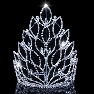 Baroque King Queen Big Tiaras Crowns Top Silver Silver Rhinestone Boda Pageant Accesorios para el cabello nupcial Crowns JCI108