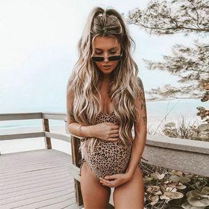 Mayo Kadınlar One Piece Hamile Mayo Kadınlar Giyim 2020 Yaz Gebelik Mayo Mayo Leopard Beach Bikini S-XL